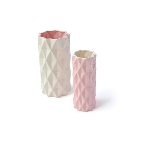 Růžovo-bílá váza Hawke&Thorn,výška22cm