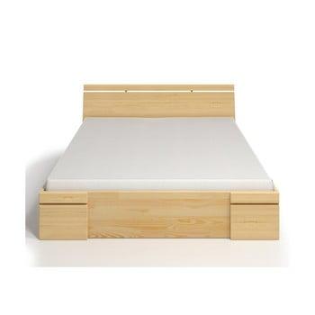 Pat dublu din lemn de pin, cu sertar, SKANDICA Sparta Maxi, 140 x 200 cm de la Skandica