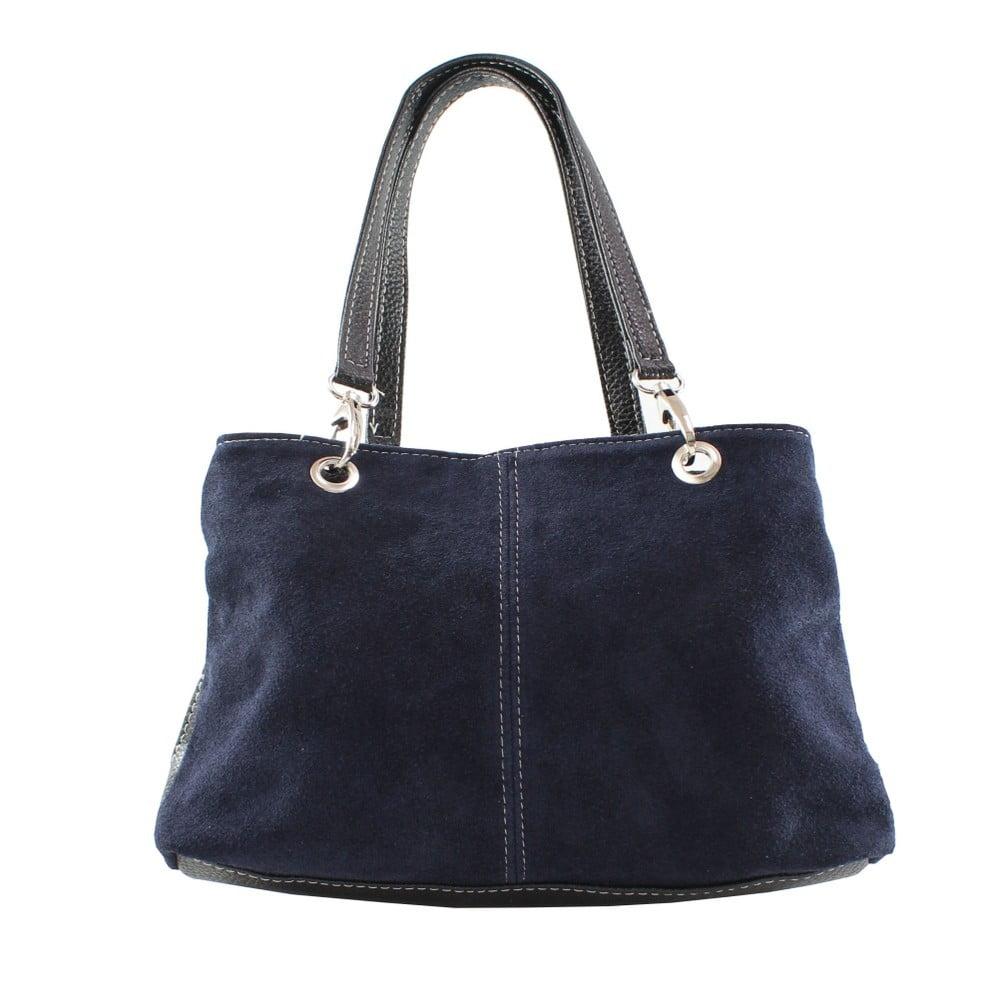 Modrá kožená kožená kabelka Chicca Borse Ink