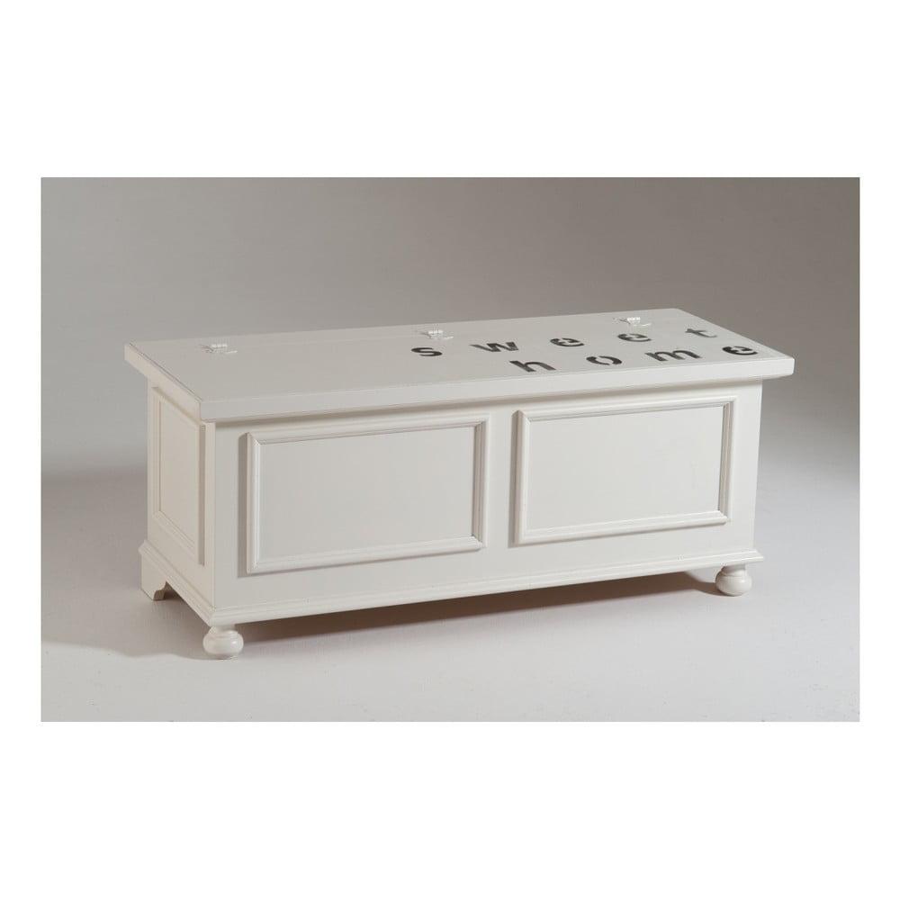 Větší bílá dřevěná truhla Castagnetti Home