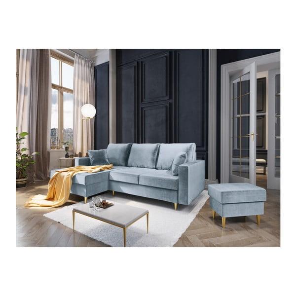Světle modrá čtyřmístná rozkládací pohovka s úložným prostorem Mazzini Sofas Muguet, levý roh