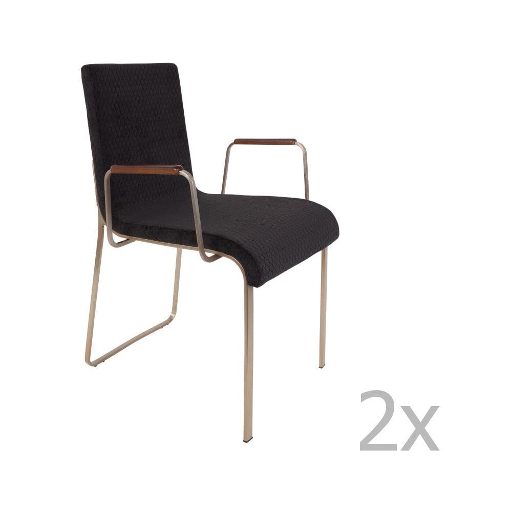 Sada 2 černých židlí s područkami Dutchbone Fiore