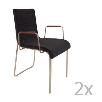 Set 2 scaune cu cotiere Dutchbone Fiore, negru de la Dutchbone