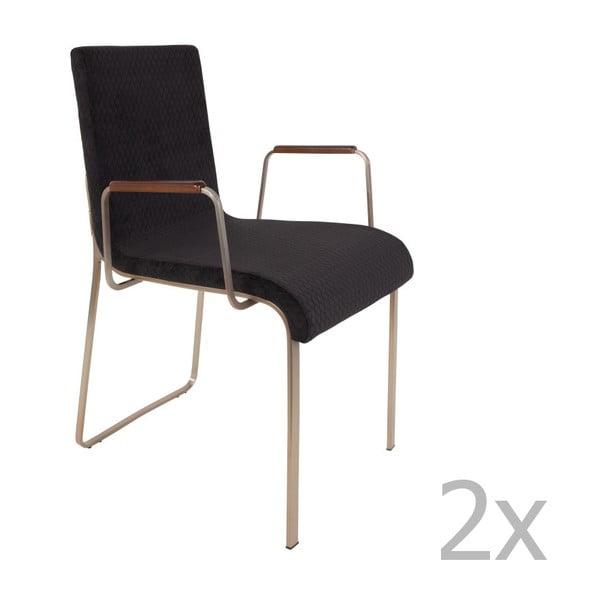 Set 2 scaune cu cotiere Dutchbone Fiore, negru