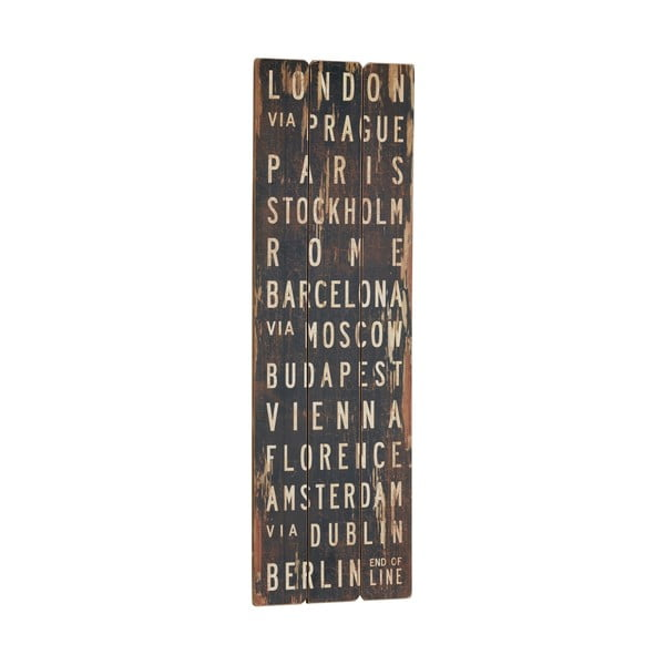 Cedule London via Prague, 90x30 cm