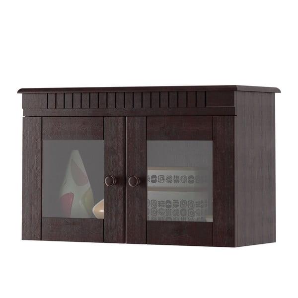 Tmavě hnědá dvoudveřová nástěnná vitrína z borovicového dřeva Støraa Candice