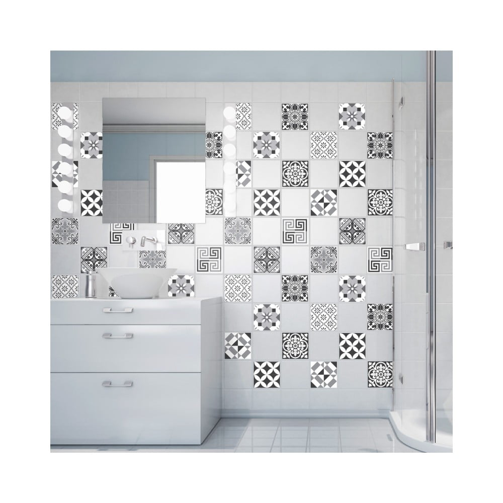 Sada 60 nástěnných samolepek Ambiance Wall Decals Elegant Tiles Shade of Grey 20 x 20 cm