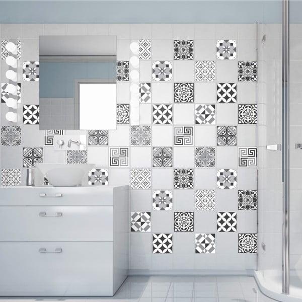 Sada 60 nástěnných samolepek Ambiance Wall Decals Elegant Tiles Shade of Grey, 20 x 20 cm