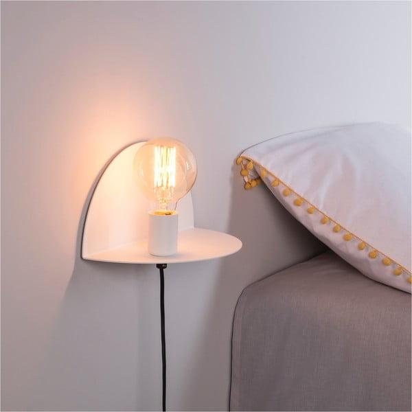Bílá nástěnná lampa s poličkou Shelfie Anna, výška 15 cm
