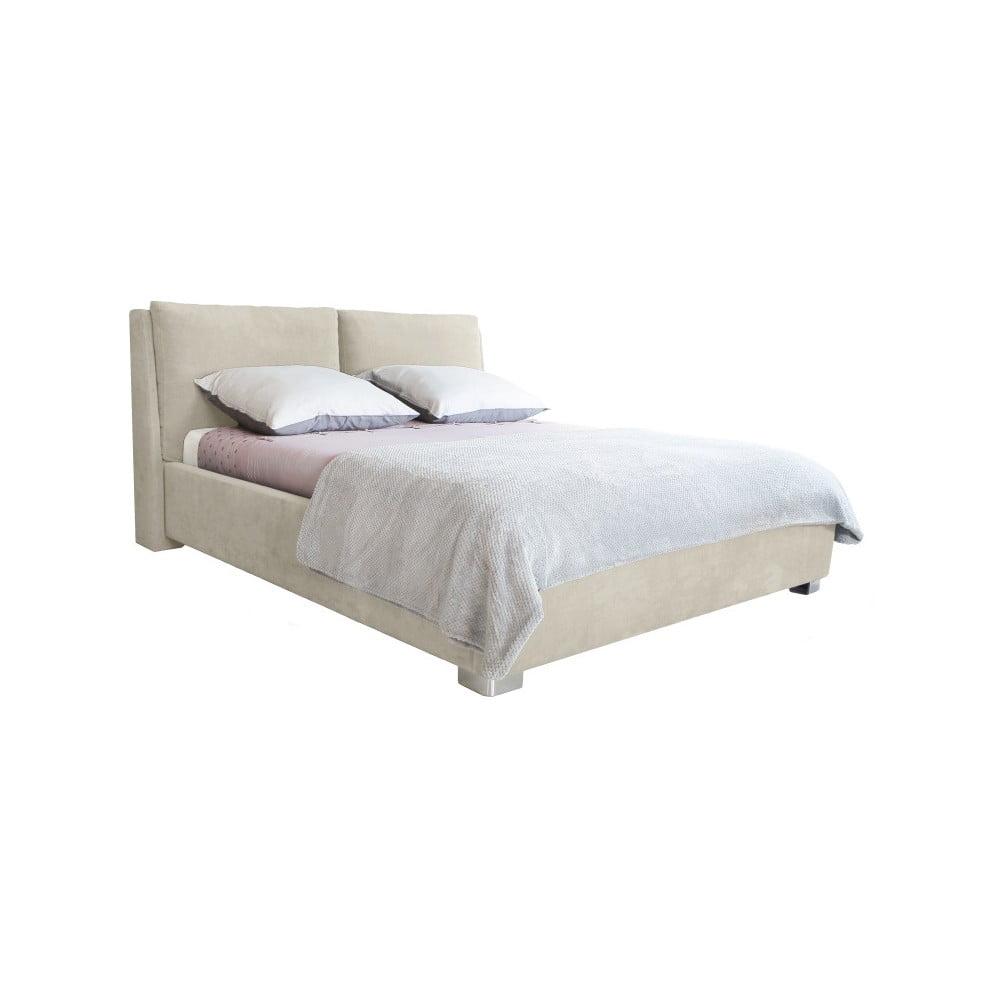 Béžová dvoulůžková postel Mazzini Beds Vicky, 180 x 200 cm