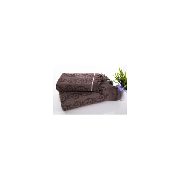 Sada 2 hamam osušek Topak Brown, 50x90 a 70x150 cm