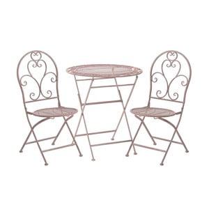 Set 2 růžových zahradních židlí a stolku InArt Antique