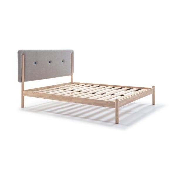 Łóżko drewniane z szarym zagłówkiem Marckeric Annie, 160x200 cm