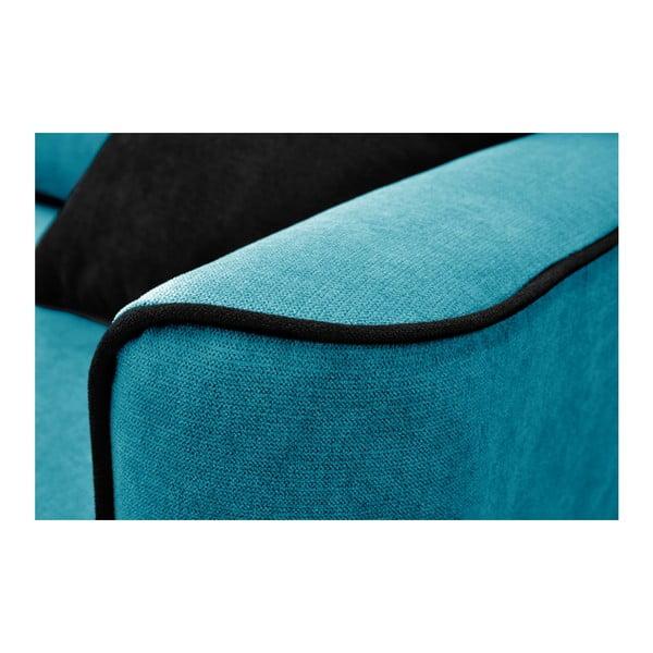 Tyrkysová trojmístná rozkládací pohovka se světlými nohami Mazzini Sofas Ivy