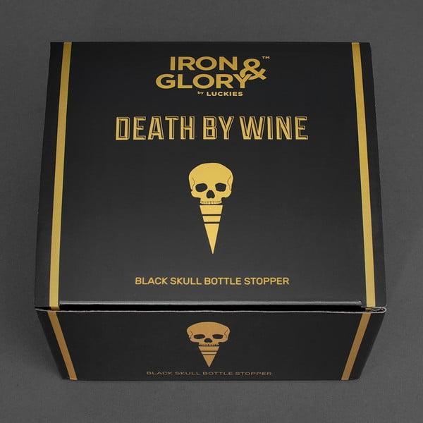 Czarna zatyczka do butelki w kształcie czaszki Luckies of London Death by Wine