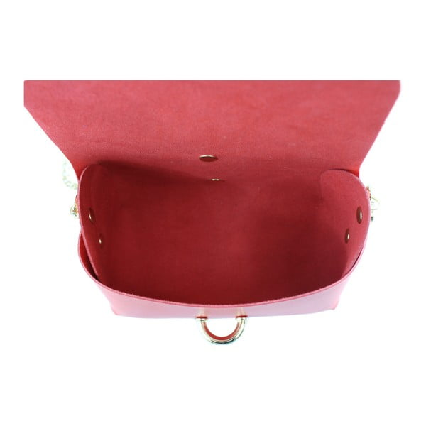 Červená kožená kabelka Chicca Borse Loira