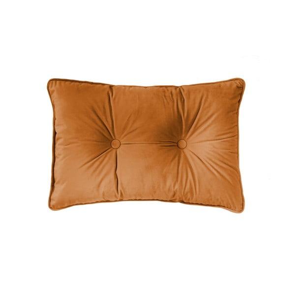 Velvet Button narancssárga díszpárna, 40 x 60cm - Tiseco Home Studio