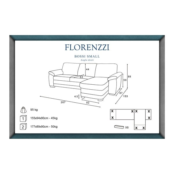 Canapea cu șezlong pe partea dreaptă Florenzzi Bossi, alb