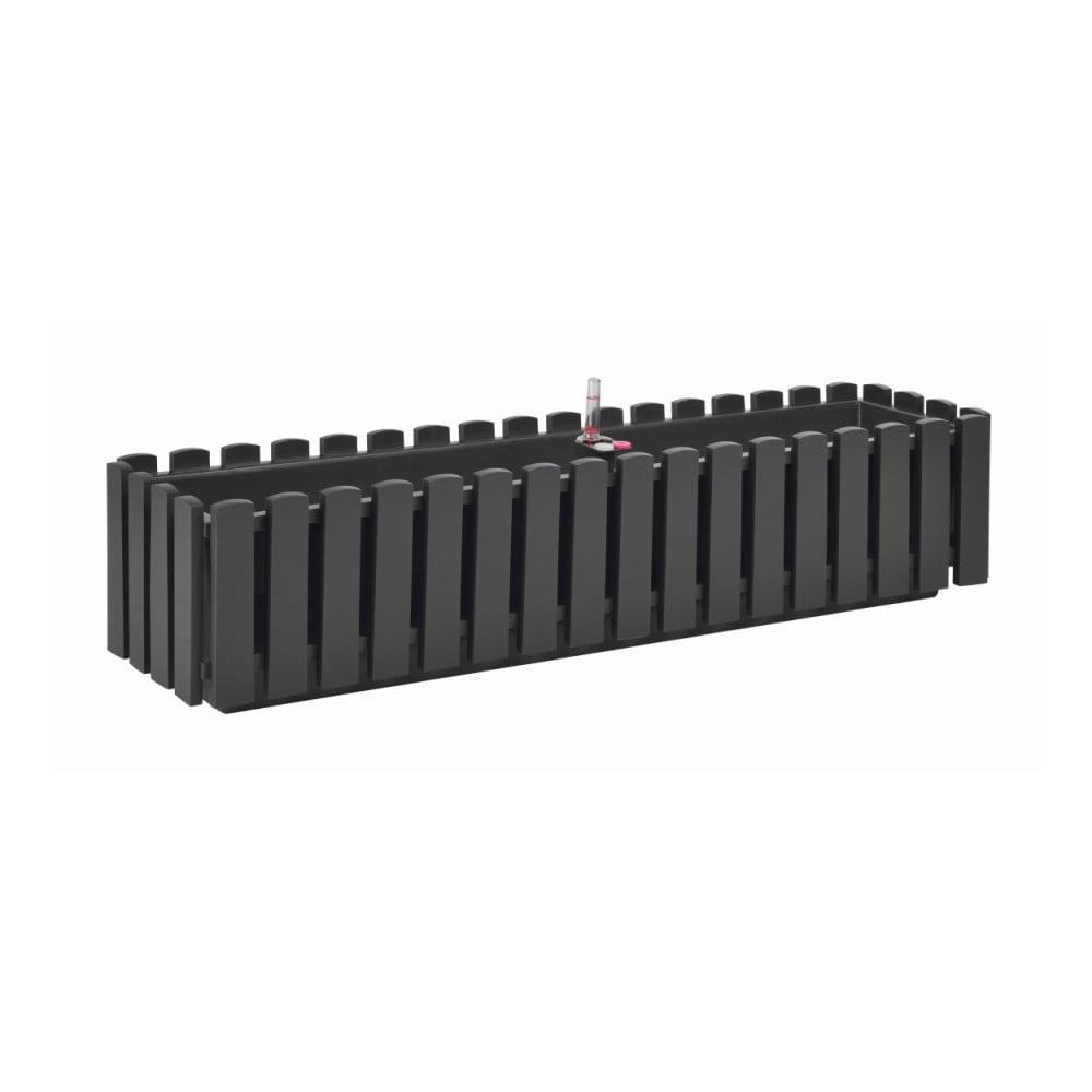 Antracitově šedý samozavlažovací truhlík Gardenico Fency Smart System, délka 75cm