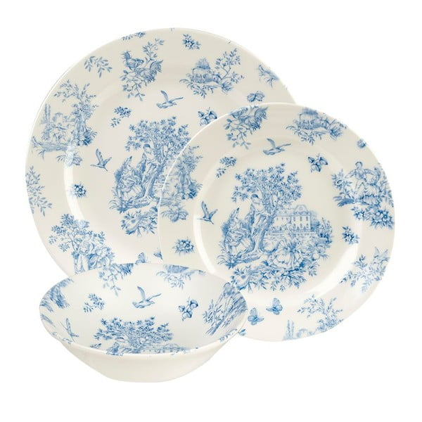 Sada 12 talířů Churchill China Toile Blue Mint de Jardin