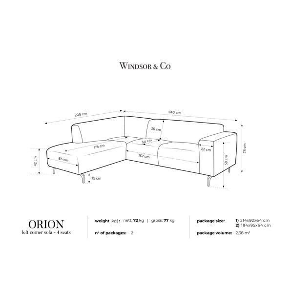 Červená rohová pohovka Windsor & Co Sofas Orion, levý roh