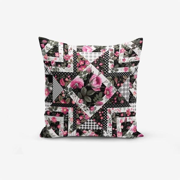 Față de pernă cu amestec din bumbac Minimalist Cushion Covers Black White With Points Flower Modern, 45 x 45 cm