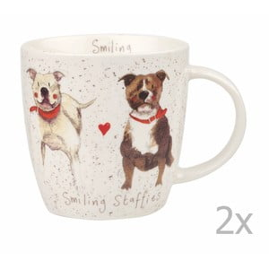 Sada 2 hrnků Churchill China Smiling Staffies, 400 ml