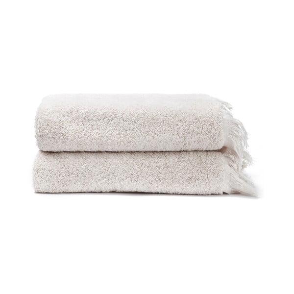 Sada 2 krémovobielych uterákov zo 100% bavlny Bonami, 50 × 90 cm