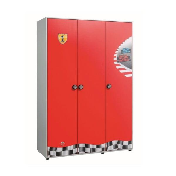 Race Cup 3 Doors Wardrobe piros ruhásszekrény
