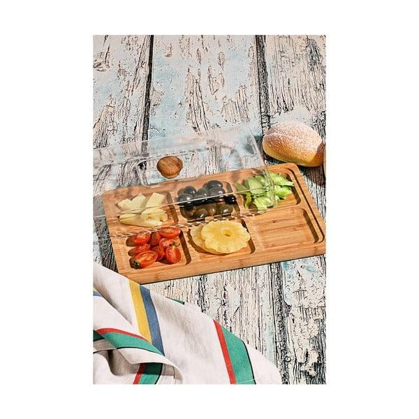 Bambusový podnos na snídani s poklopem Jacob, 33x23cm