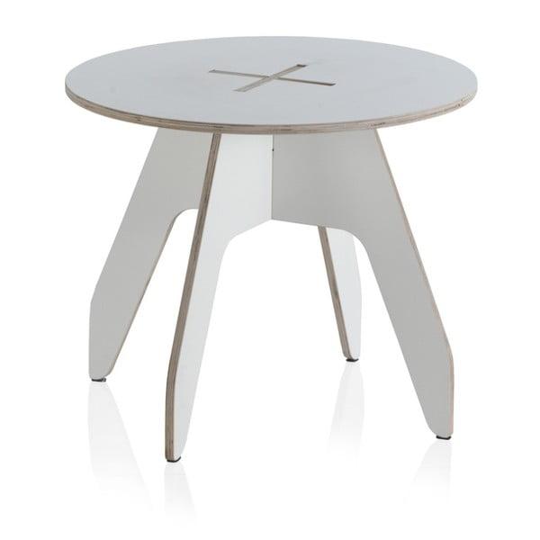 Biely okrúhly detský stôl z preglejky Geese Piper, ⌀60cm