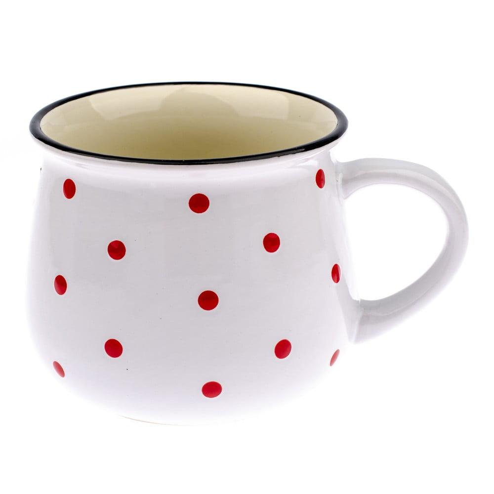 Fotografie Bílý keramický hrnek s červenými puntíky Dakls Happy Time, 770 ml Dakls