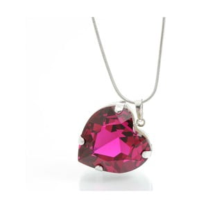 Colier Swarovski Elements Laura Bruni Heart Fuchsia