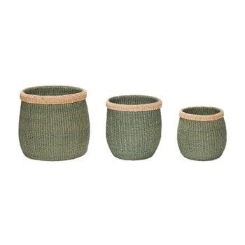 Set 3 coşuri depozitare din fibre de abaca Hübsch Eulalia