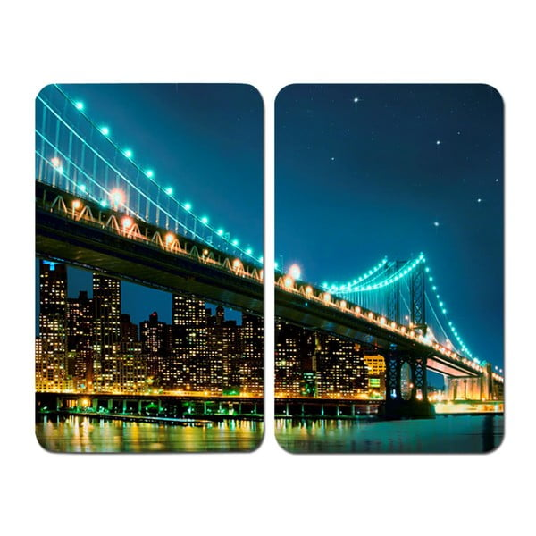 Set 2 suporturi din sticlă pentru protecția aragazului Wenko Brooklyn Bridge, 52 x 30 cm