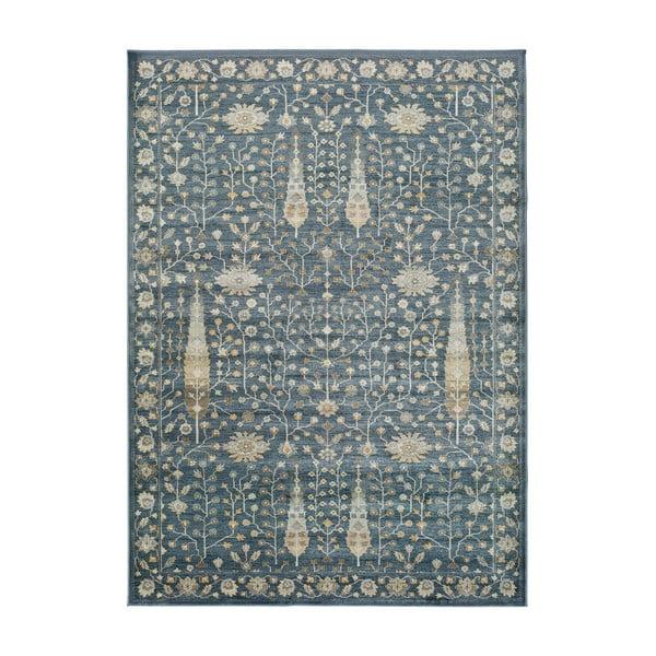 Modrý koberec z viskózy Universal Vintage Flowers, 160x230cm