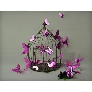 Sada 12 fialových adhezivních 3D samolepek Ambiance Butterflies