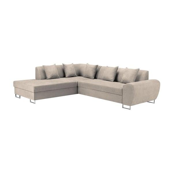 Béžová rohová rozkládací pohovka s úložným prostorem Kooko Home XL Left Corner Sofa