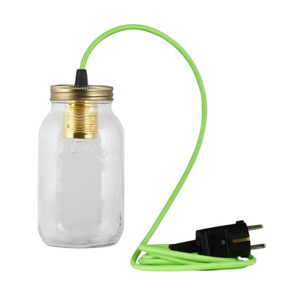 Svítidlo JamJar Lights, zářivě zelený kulatý kabel