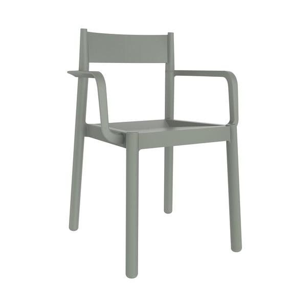 Sada 4 šedozelených zahradních židlí s područkami Resol Danna