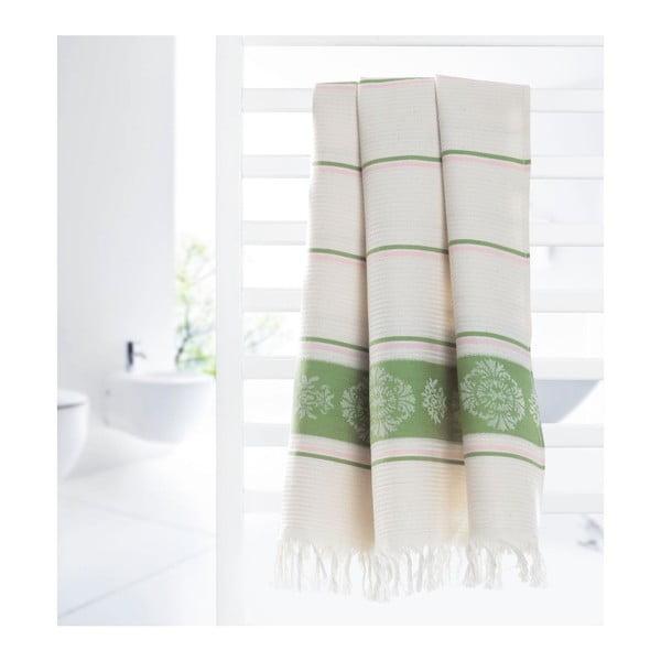 Prosop hammam Deco Bianca Loincloth Smeh Green, 80 x 170 cm, verde - bej