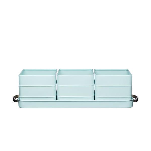 Modrá sada 3 květináčů na bylinky Kitchen Craft Living Nostalgia