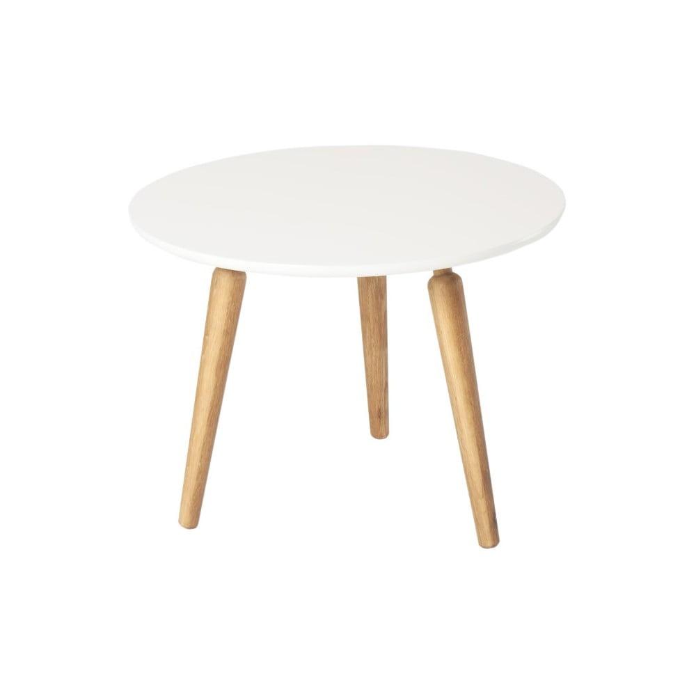 Konferenční stolek s bílou deskou z dubového dřeva Folke Cappuccino, výška 45cmx∅60cm