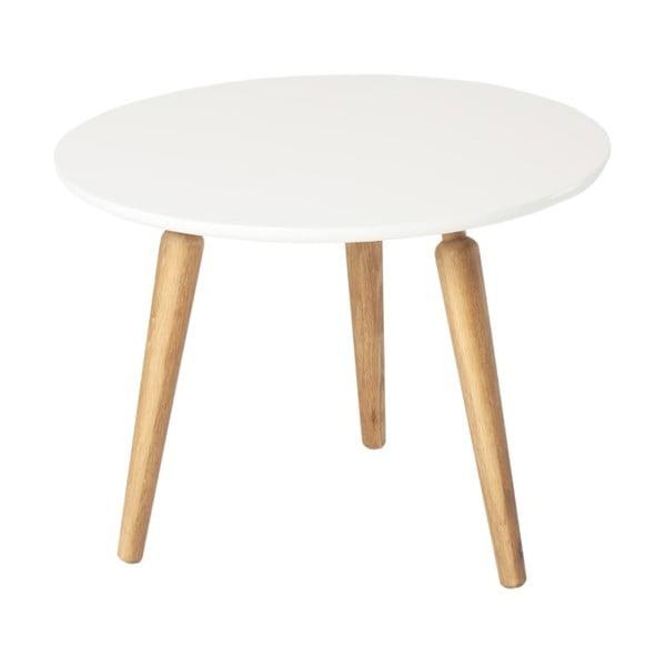 Masă cafea din lemn de stejar cu blat alb Folke Cappuccino, înălțime 45cmx∅60cm