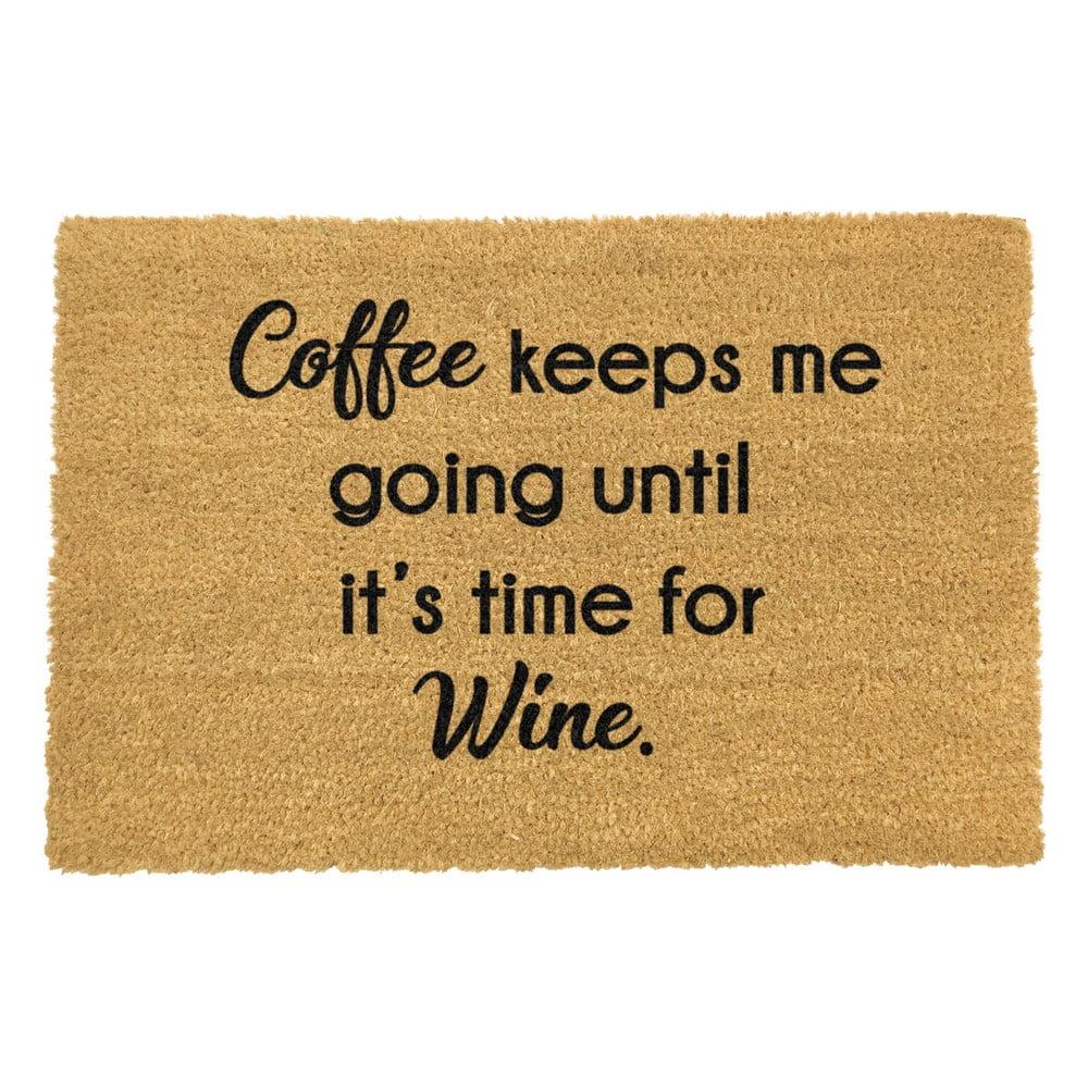 Rohožka z přírodního kokosového vlákna Artsy Doormats Coffee Keeps Me Going,40x60cm