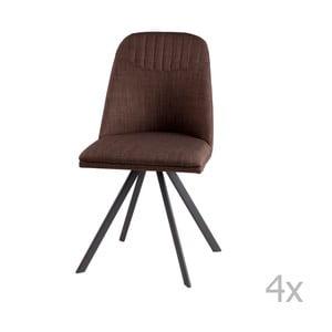 Sada 4 hnědých otočných jídelních židlí sømcasa Cris