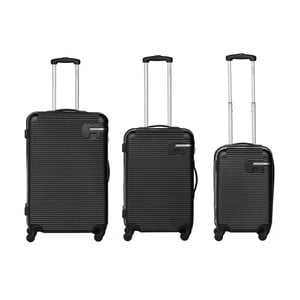 Sada 3 černých cestovních kufrů Packenger Bannisters