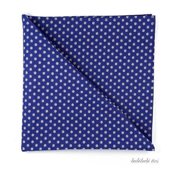 Modrý kapesníček do saka s béžovými puntíky
