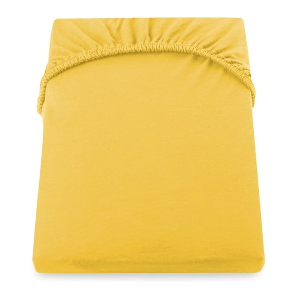 Cearșaf de pat cu elastic DecoKing Nephrite, 120-140 cm, galben - portocaliu