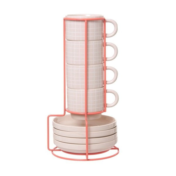 Sada 4 hnrků se stojánkem Espresso Grid Pink